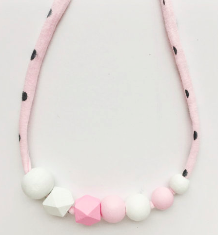 coralandcloud Valentine's Pretty in Pink Petite Handpainted Wooden Bead Necklace, $23.08-