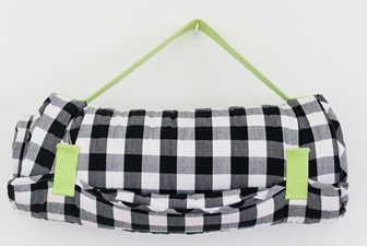 Little Bean Nap Mat in Blk + Wht Check with Lime Strap, $150-.png