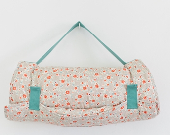 Little Bean Nap Mat in Coral Flowers + Brown Stripe with Aqua Strap, $150-.png