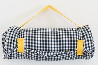 Little Bean Nap Mat in Navy + Wht Check with Gold Strap, $150-.png
