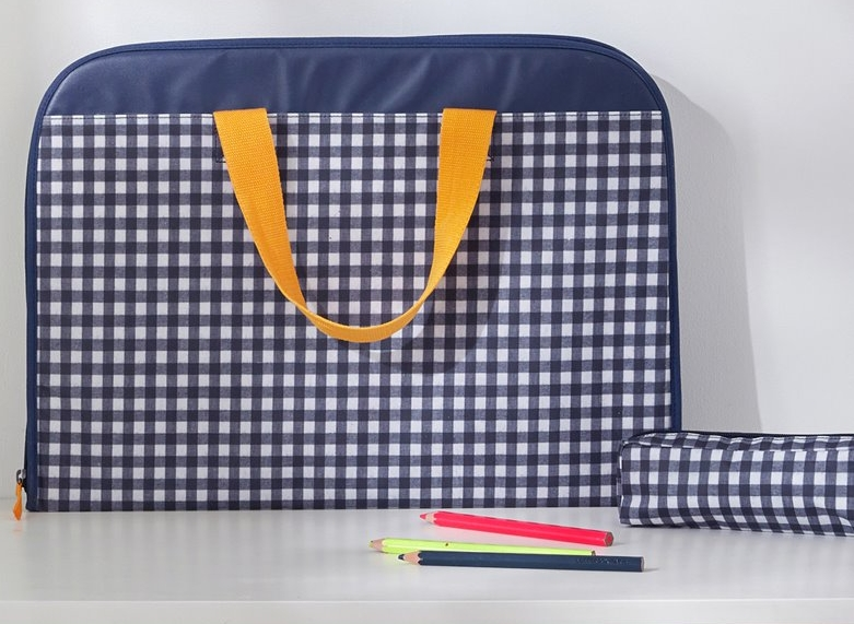 Gingham Coated Drawing Pouch, $30-