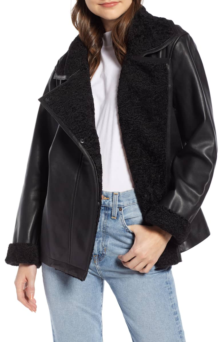 Something Navy Aviator Leather Jacket, $349-.jpeg