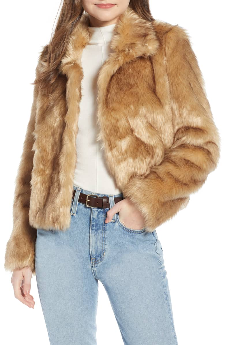 Something Navy Faux Fur Crop Jacket, 169-.jpeg