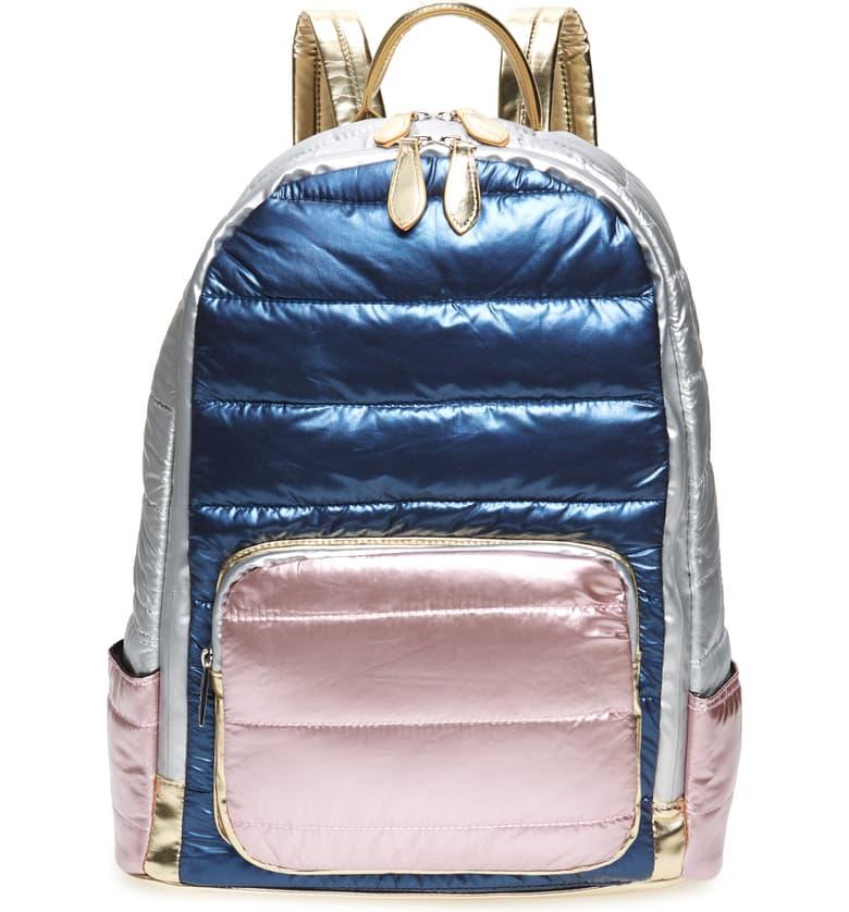 Nordstrom Bari Lynn Puffy Hologram Metallic Backpack, $64-.jpeg