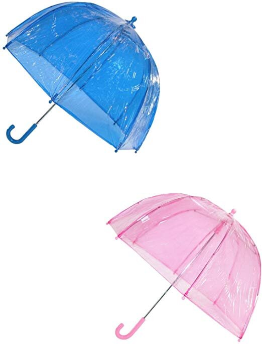 Blue and Pink Clear Dome Umbrella Set, $40-