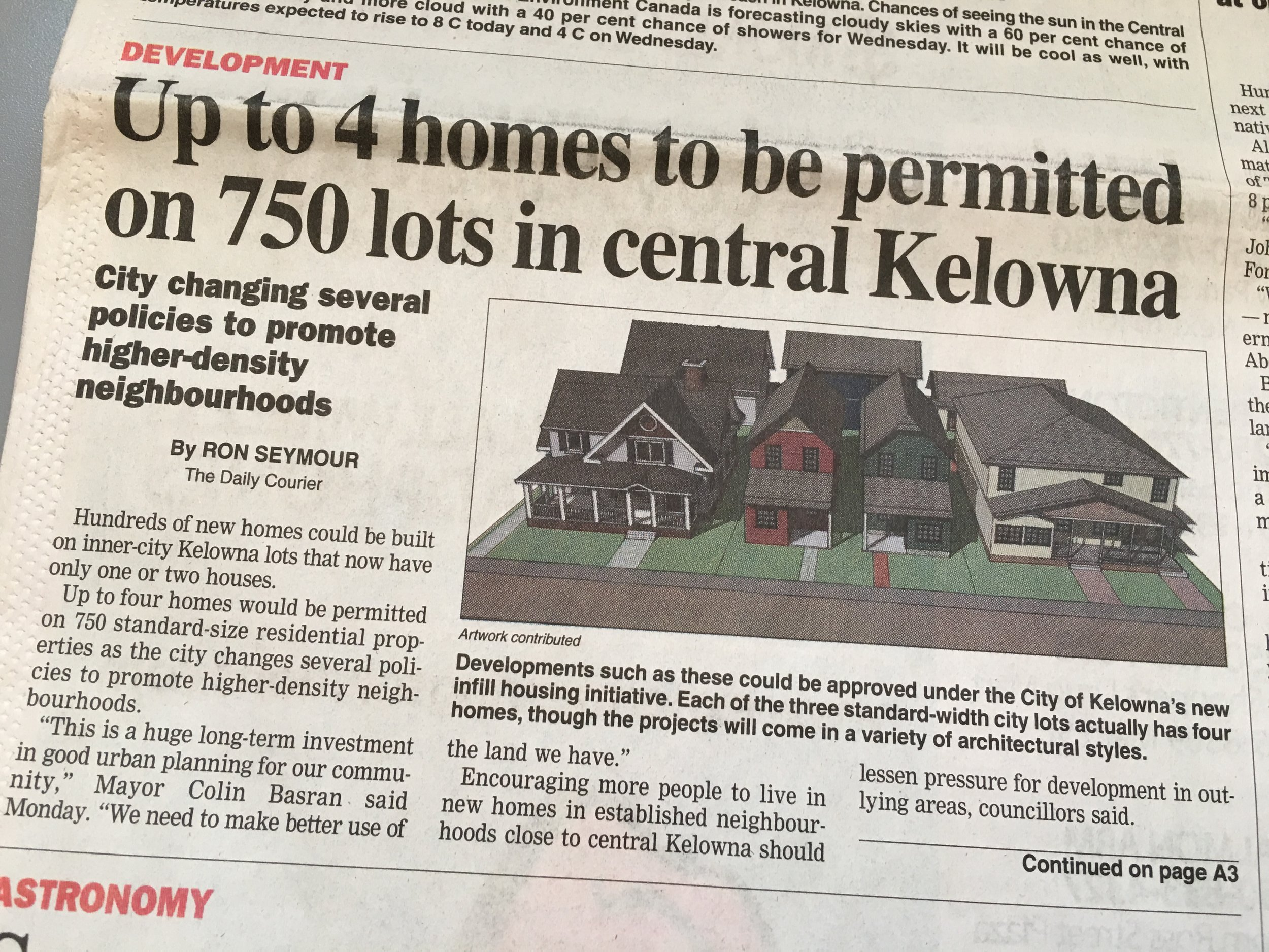 Kelowna Daily Courier - Up to 4 homes to be permitted on 750 lots in central Kelowna