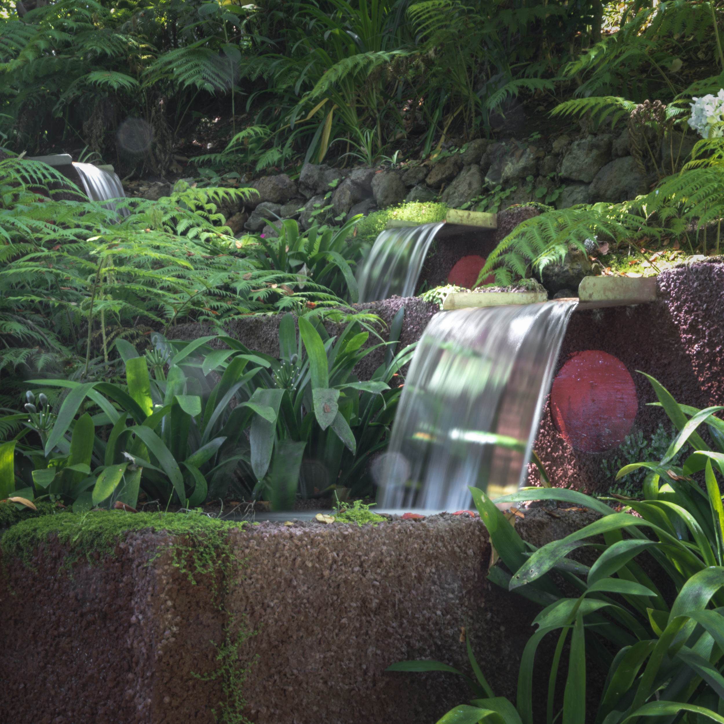 Trio of Waterfalls in the Tropical Garden