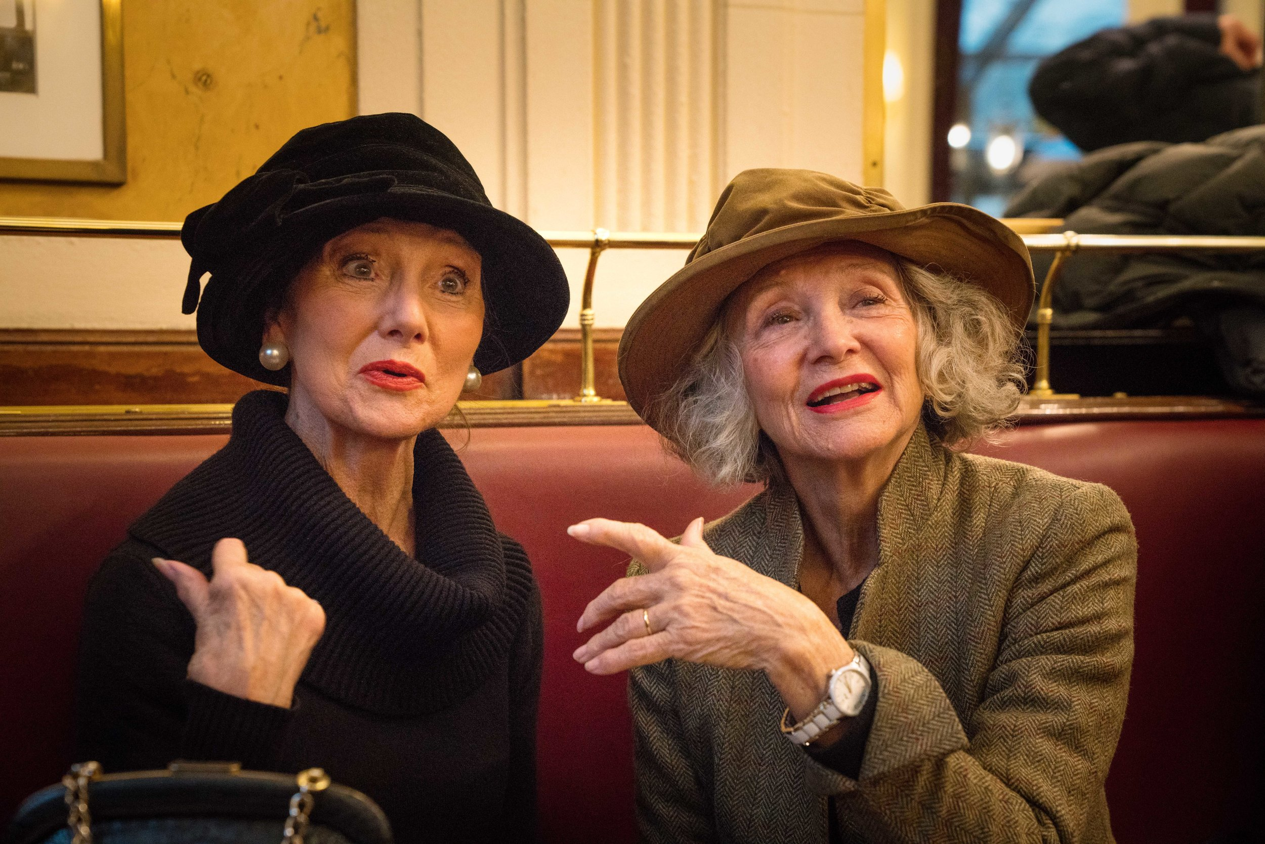 Sisters Enjoying an Afternoon Chat in the Cafe Deux Magots
