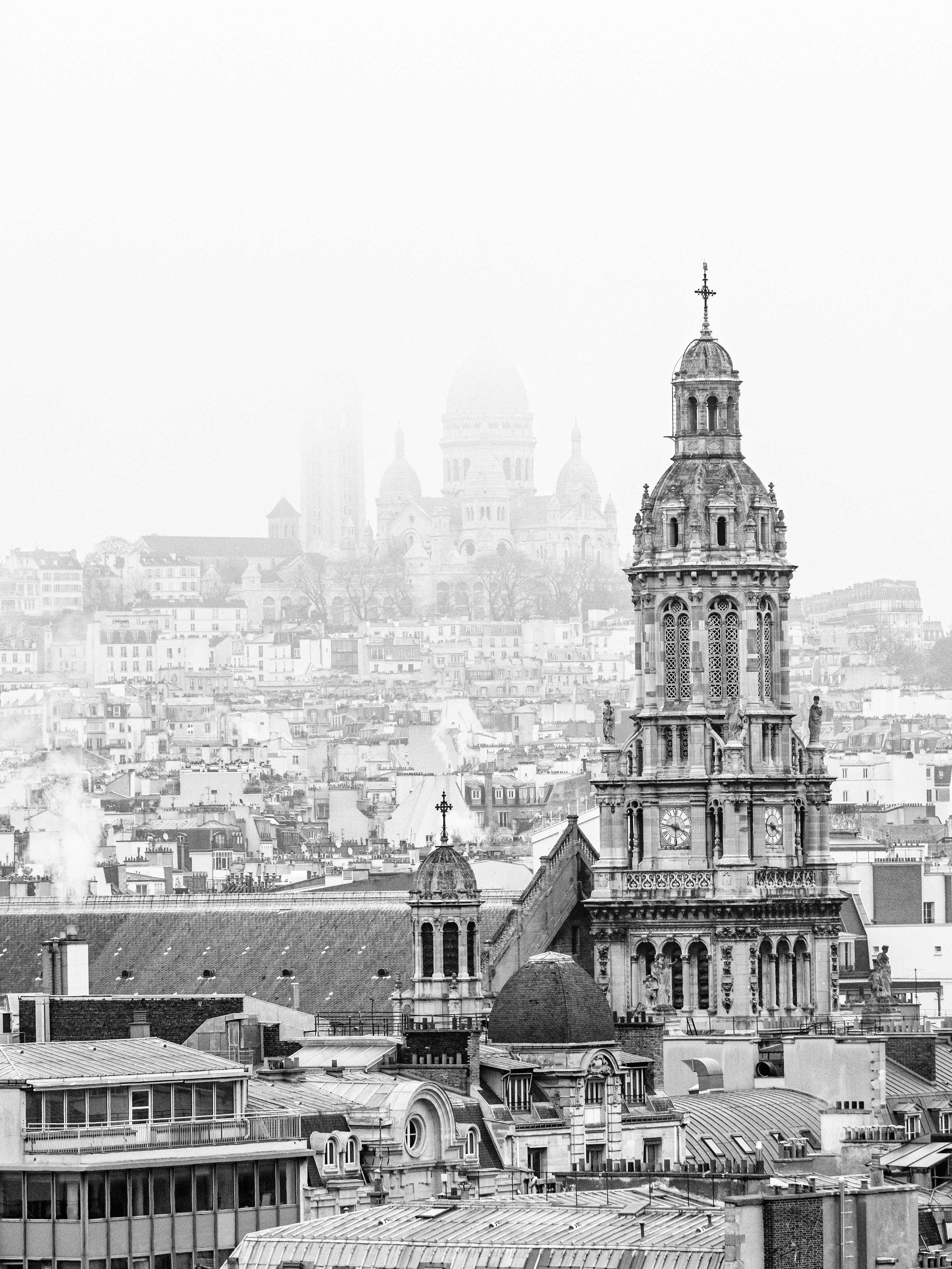 Basilica du Sacre-Coeur de Montmartre on a Foggy Sunday from Printemps' Rooftop