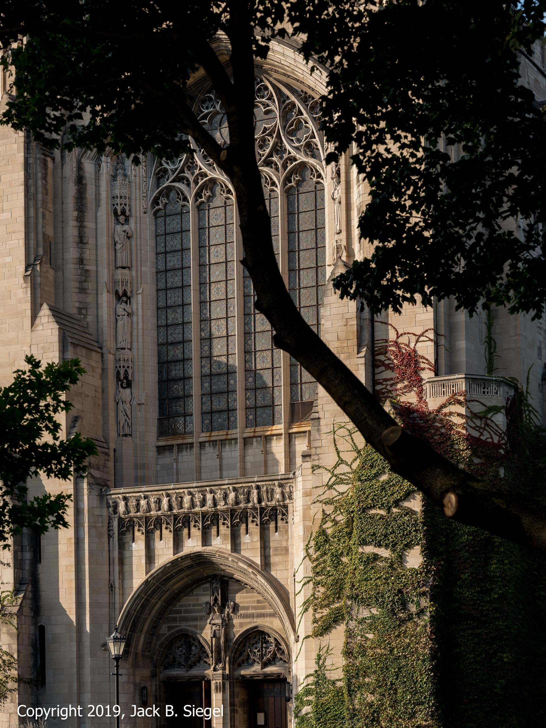Rockefeller Chapel's Main Entrance on a Fall Afternoon