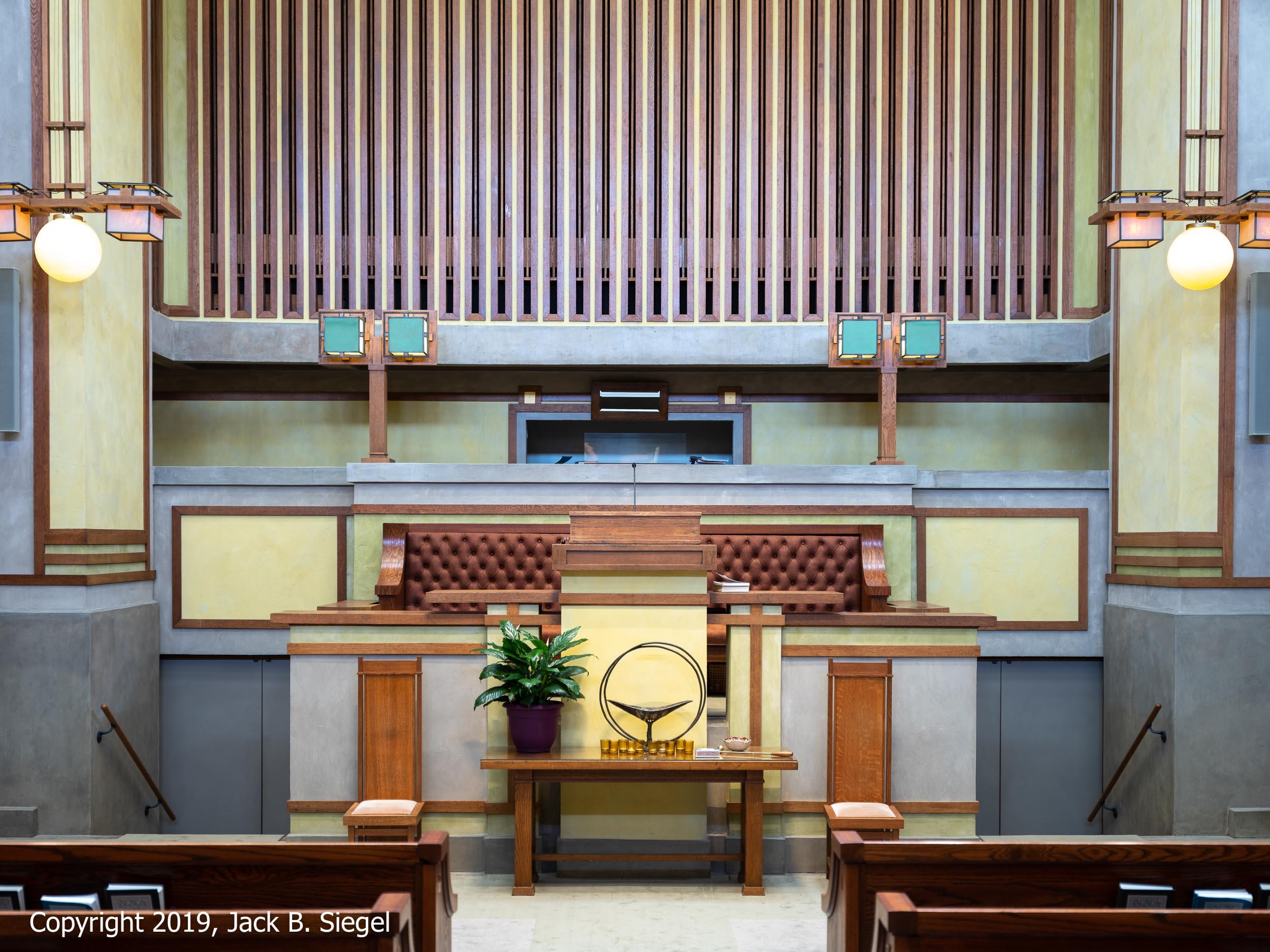 The Main Alter in Frank Lloyd Wright's Unity Temple (Oak Park)