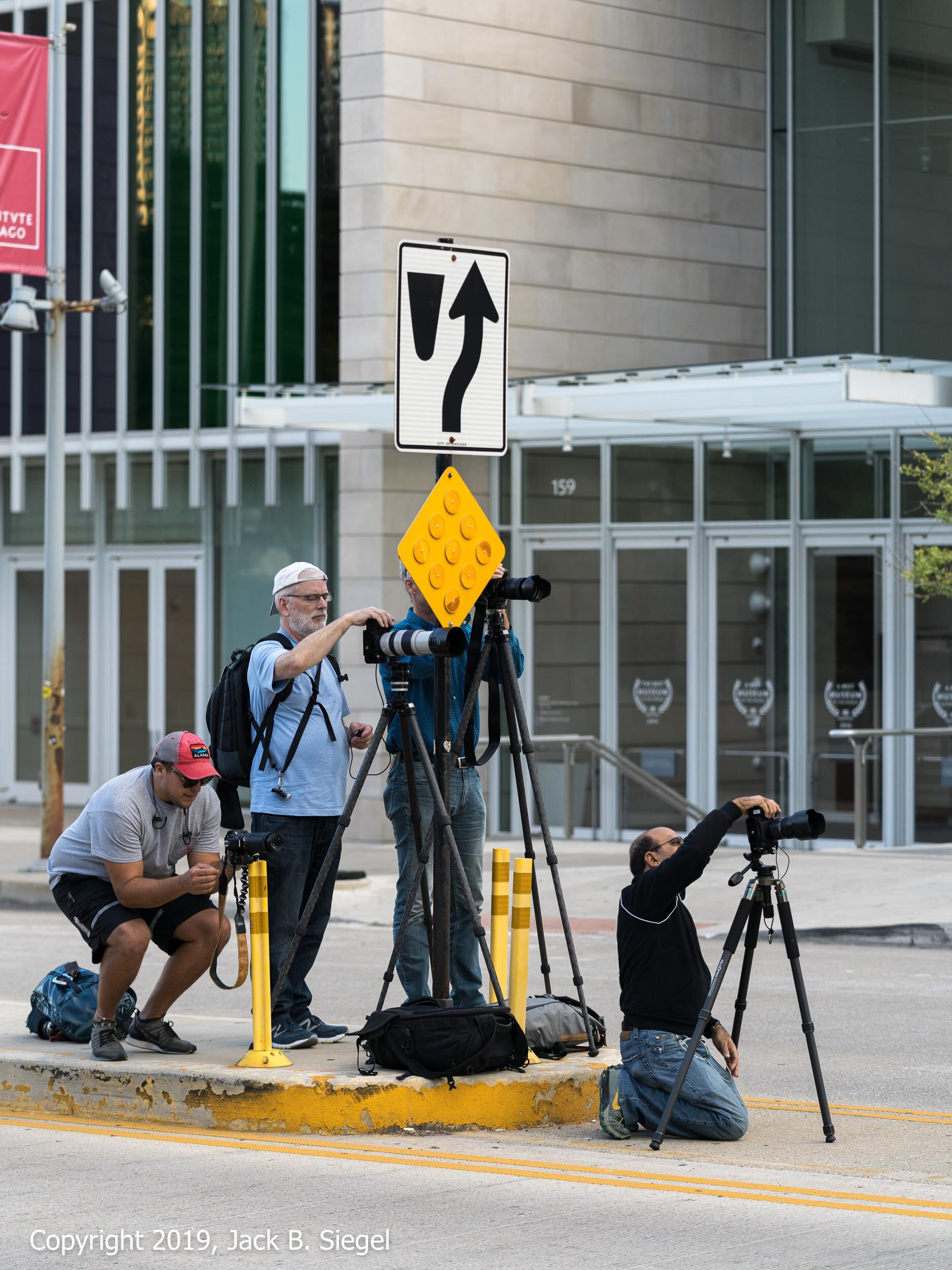 Photographers Await the Autumnal Equinox on the Median Strip North of the Art Insitute