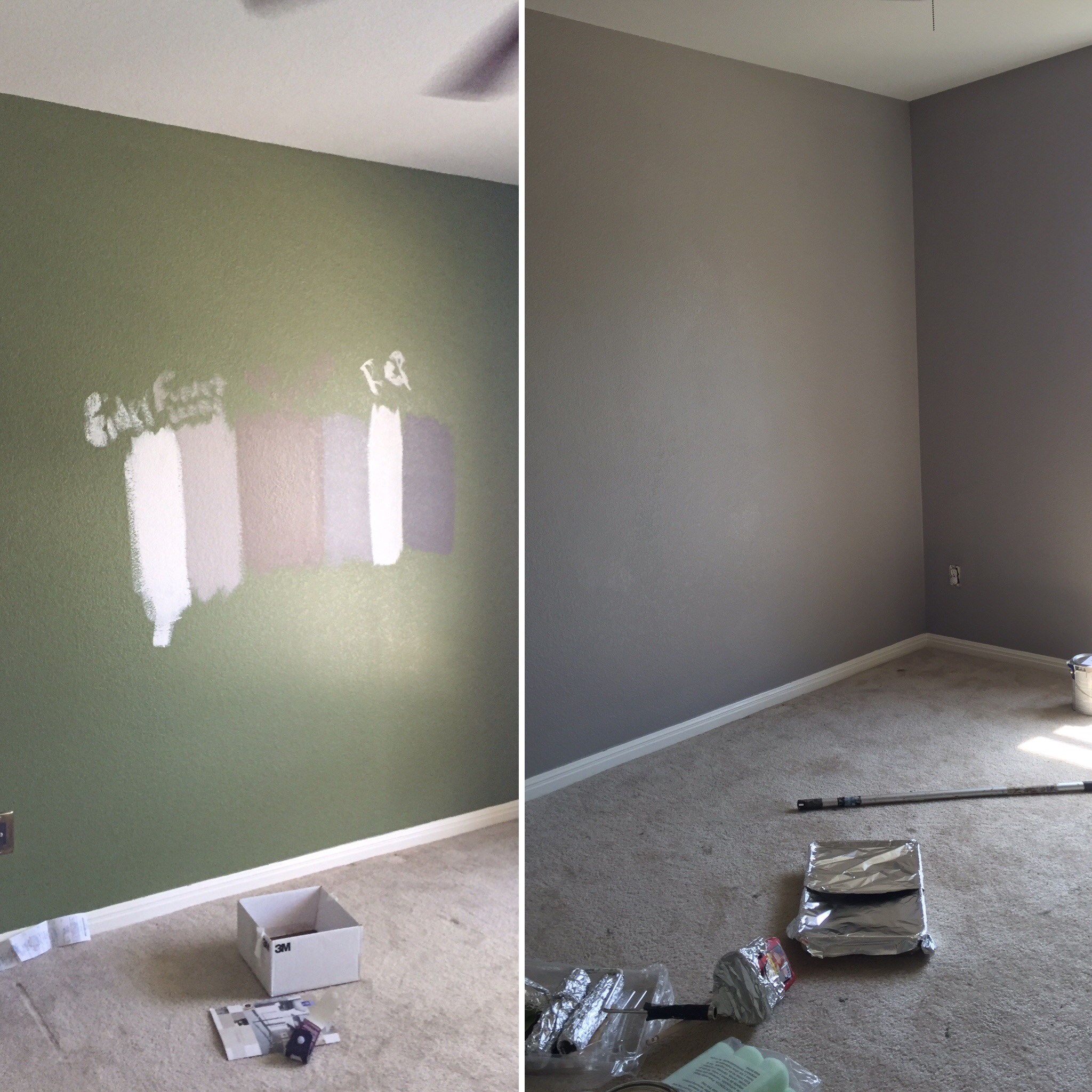Older son's room, Colin the one in picture above. His room was green to begin with and we changed it to  SW Functional Grey.