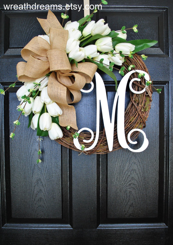 monogram white tulip grapevine wreath