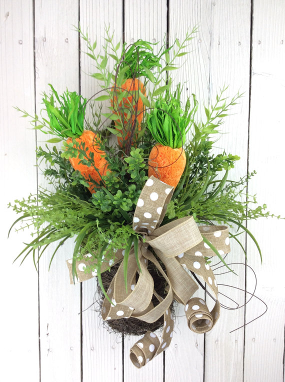 carrot basket door wreath