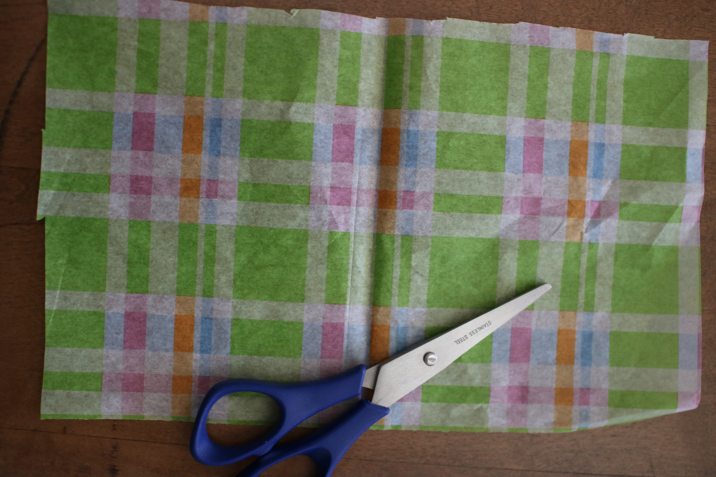 Step 1  - Cut your tissue paper or napkins about 6-7 inches long by 4 inches wide