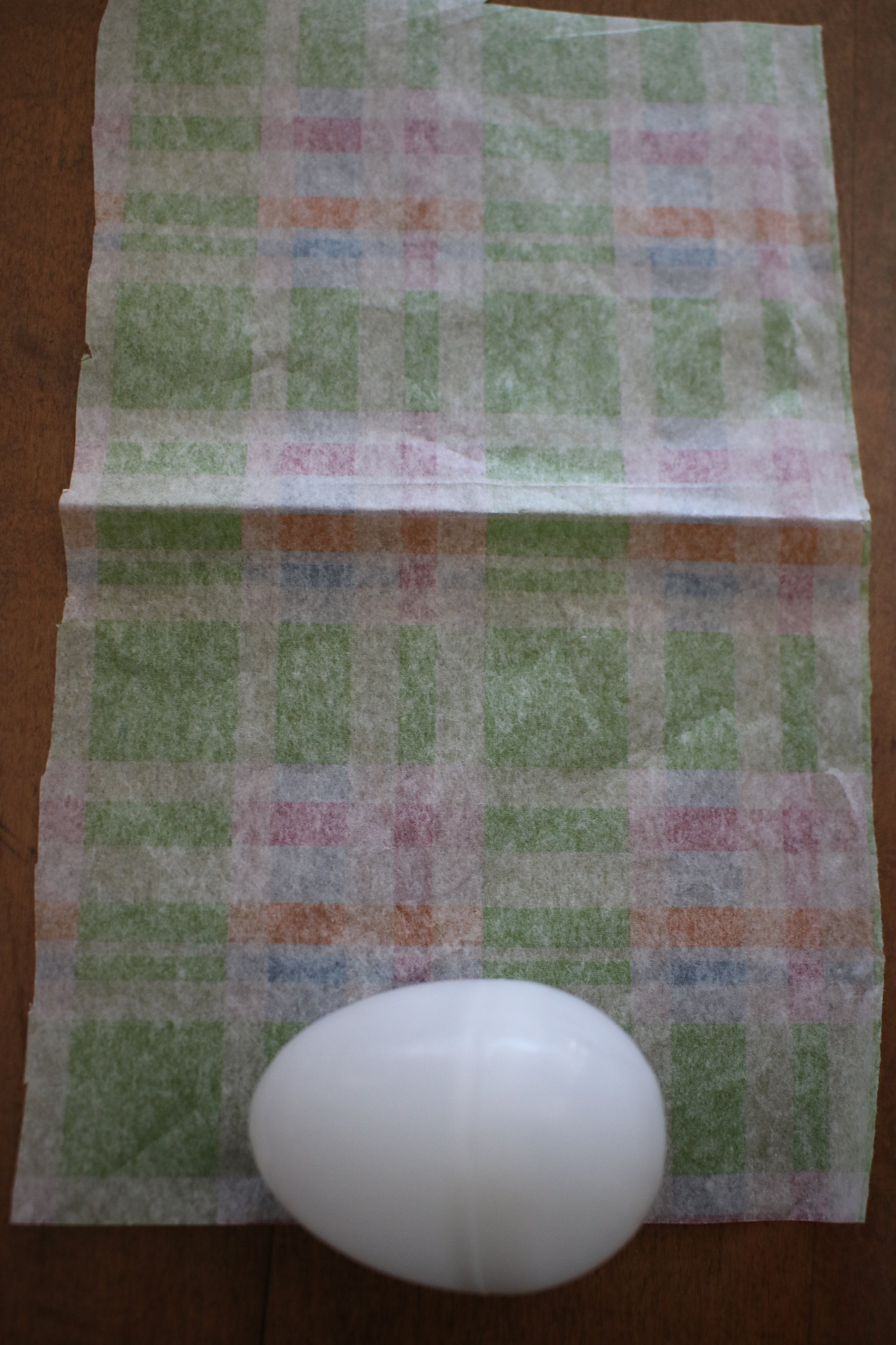 Step 4 - Place the side of the egg that has the glue on it down on the middle of the paper edge.
