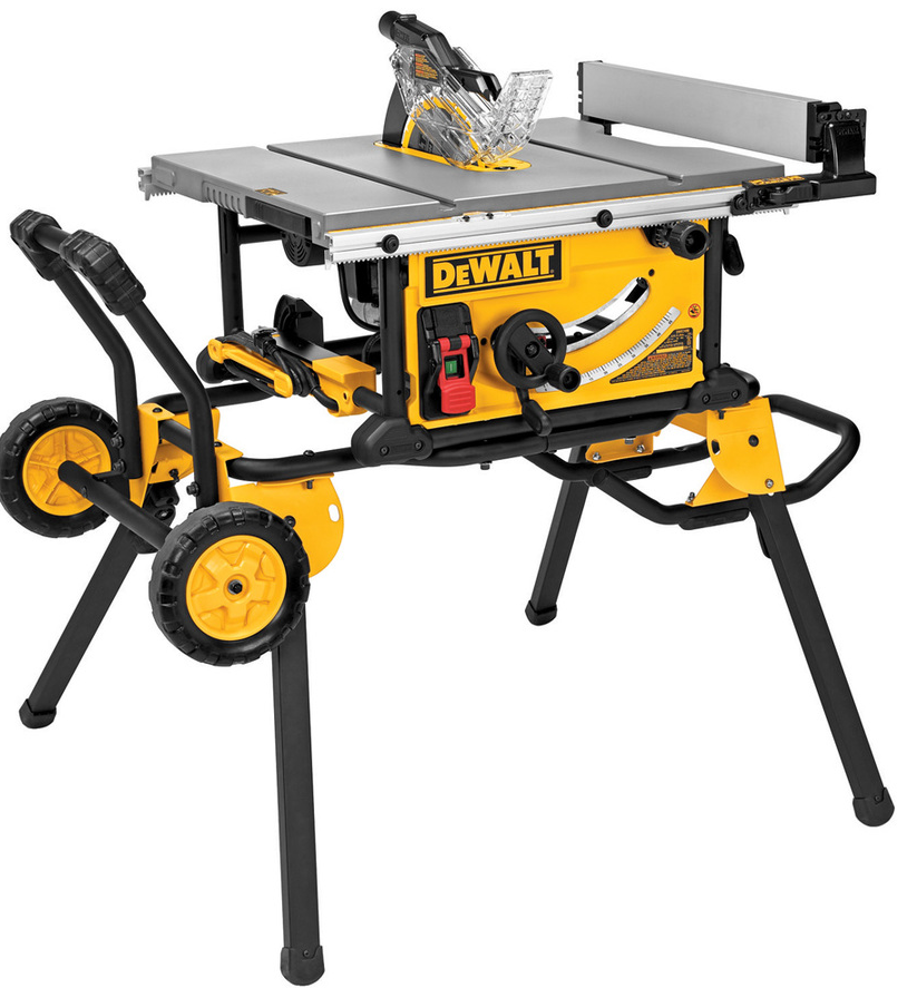 This  DEWALT 10-in Carbide-tipped-Amp Table Saw  is the exact same table saw as the first one but allows for it to be moved from one place to another without having to be picked up completely.