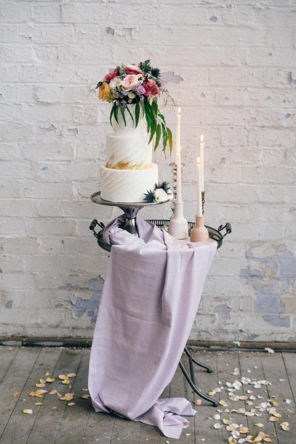 Layered wedding cake in industrial setting in Melbourne, Australia