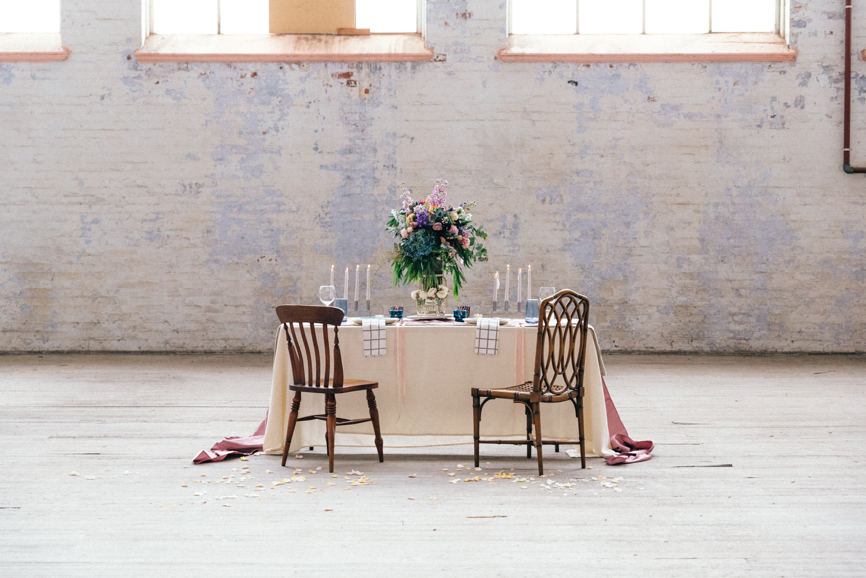 Stunning industrial wedding table and flower set up in Melbourne, Australia