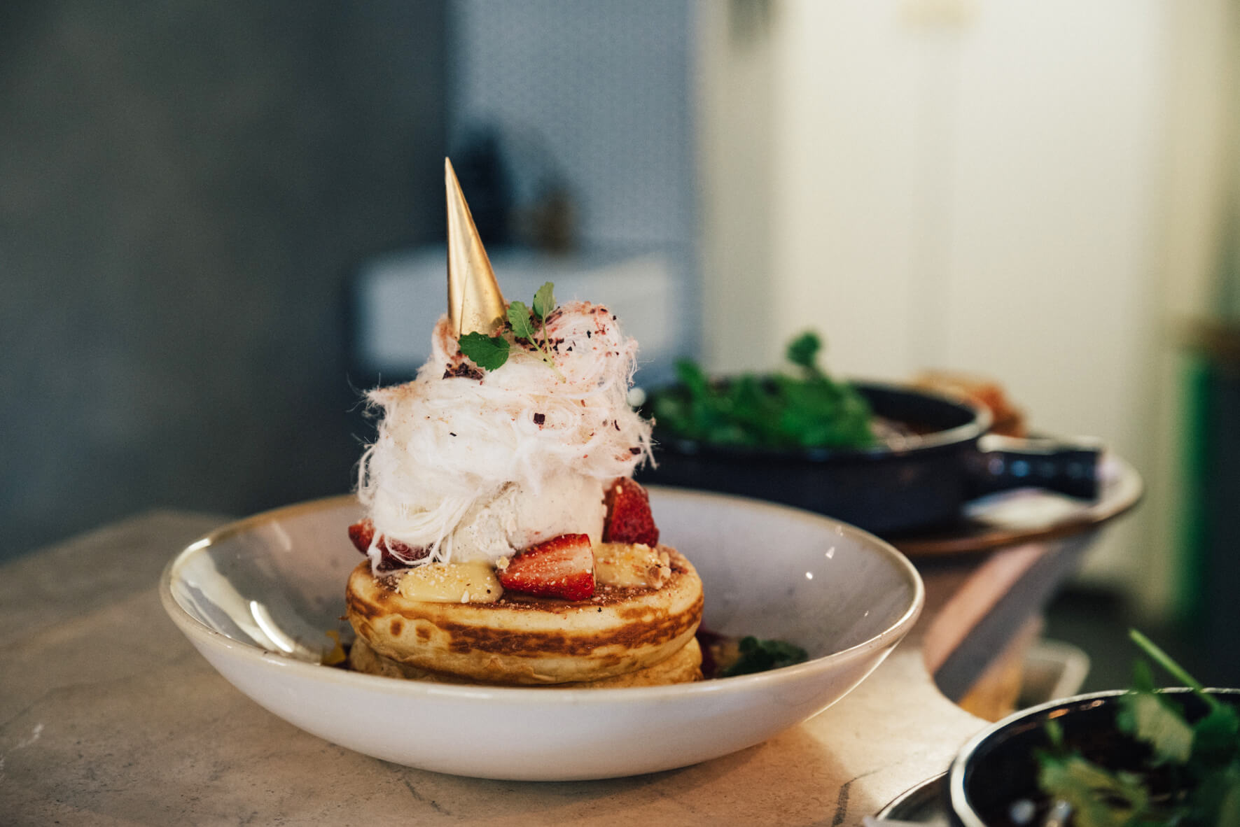 Beautiful photography of delicious fluffy pancakes in Melbourne cafe