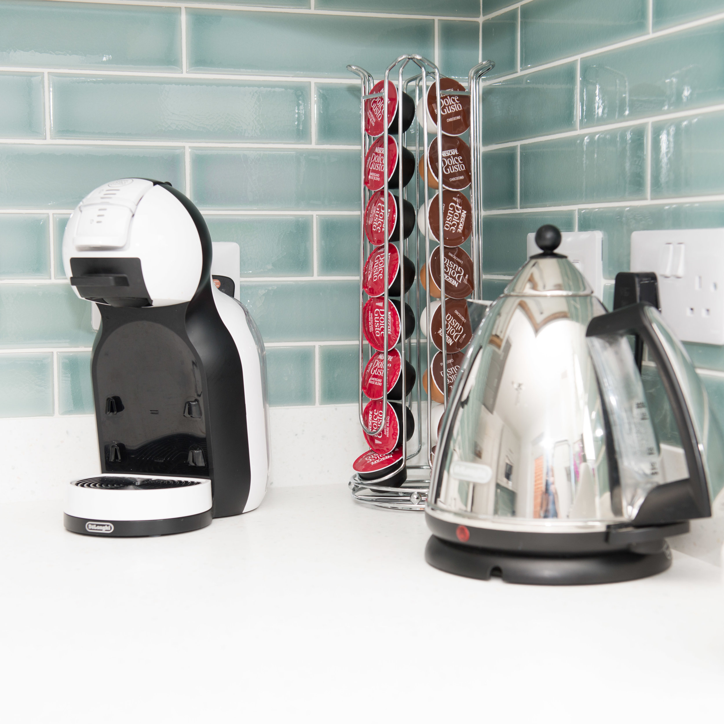 chrome kettle and coffee machine with duck egg tiles behind | Product Photographer Aylesbury Buckinghamshire and Thame Oxfordshire