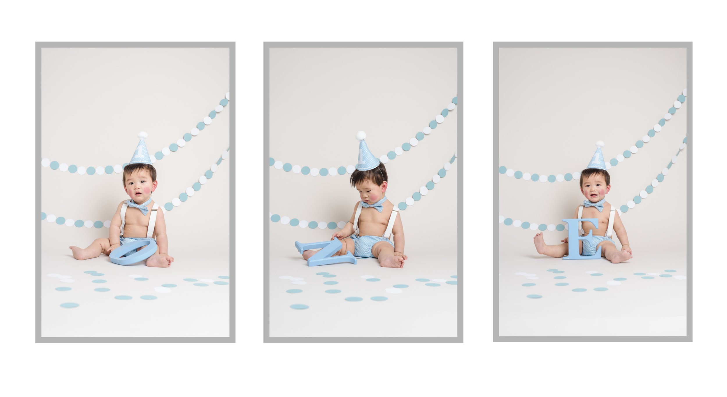 Blue and white circle bunting