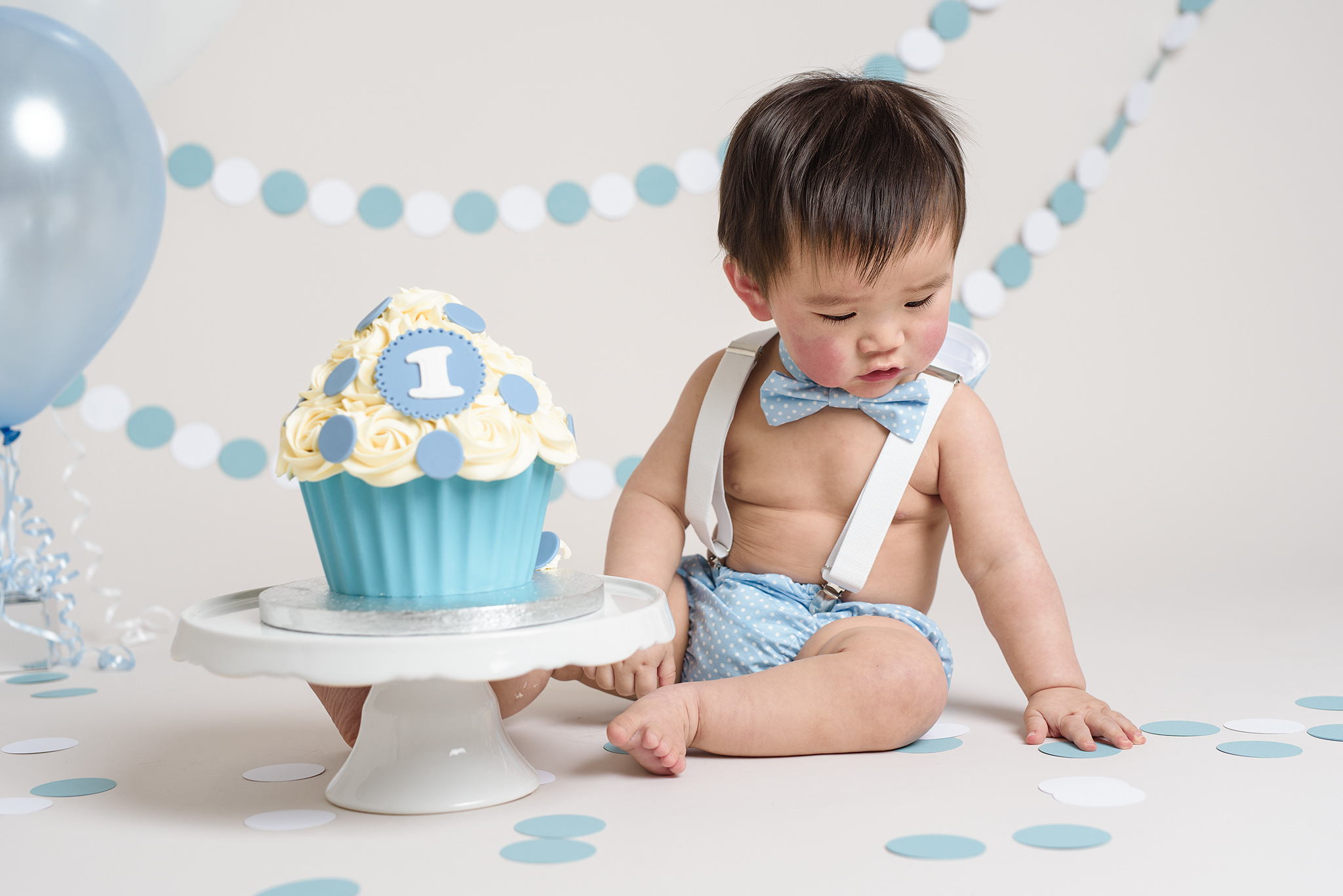 Baby Blue Spotty Pants, Braces and Bow Tie Set