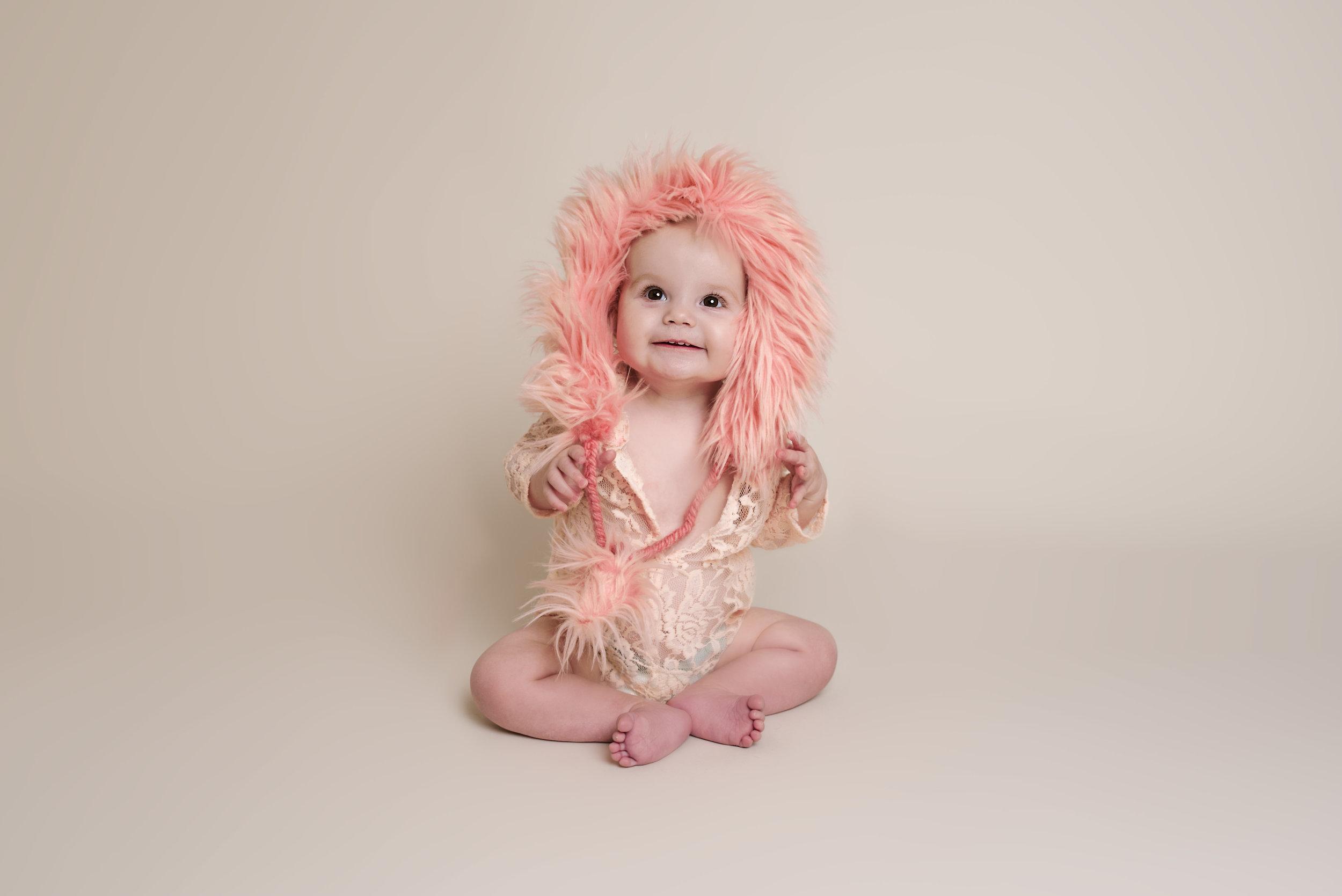 Peach Lace Fur Hooded Romper