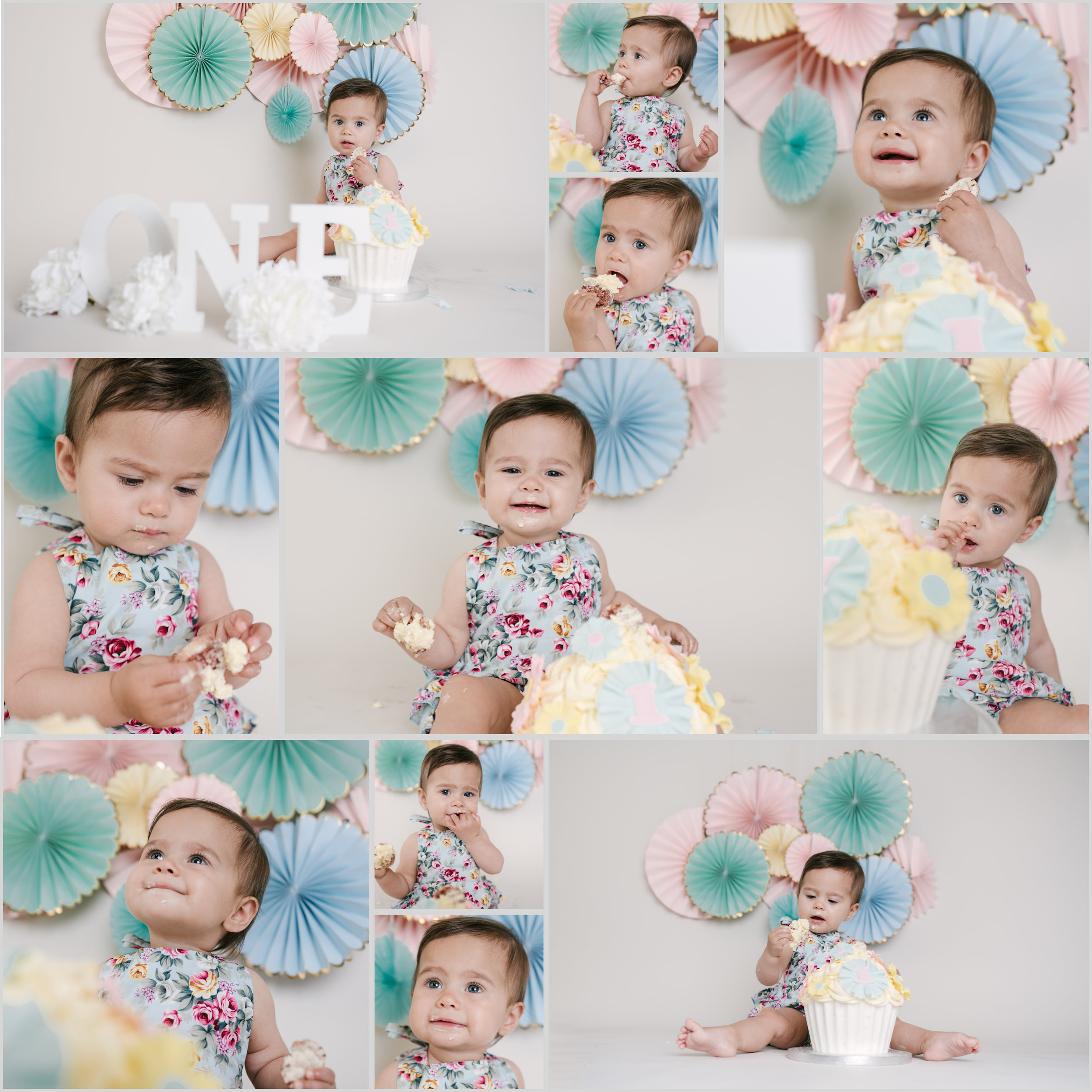 collage of a little girl wearing mint, and pink outfit with fans behind her smashing and eating cake | Cake Smash Photographer Aylesbury Buckinghamshire and Thame Oxfordshire