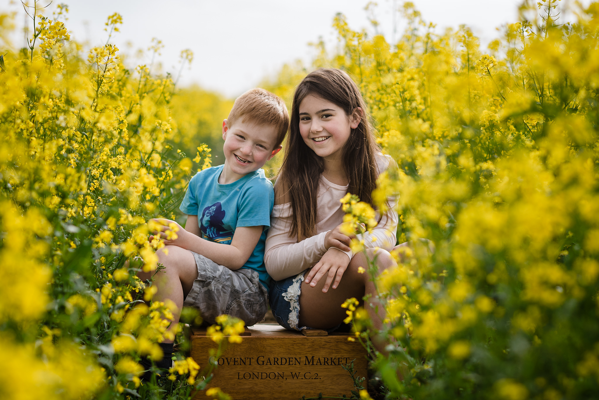 Brother and sister sat on a crate in a rapeseed field on a photography session in buckinghamshire