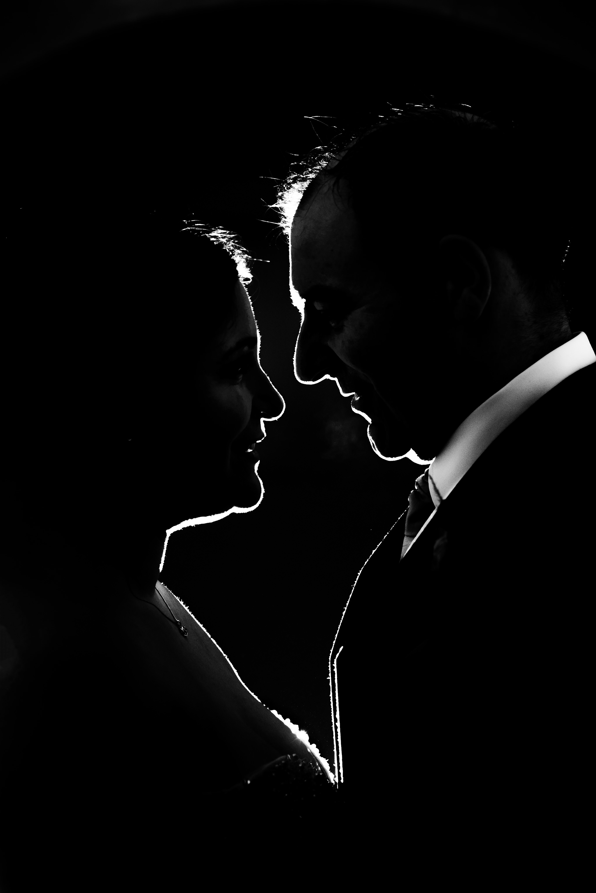 Bride and Groom Black and white silhouette portrait