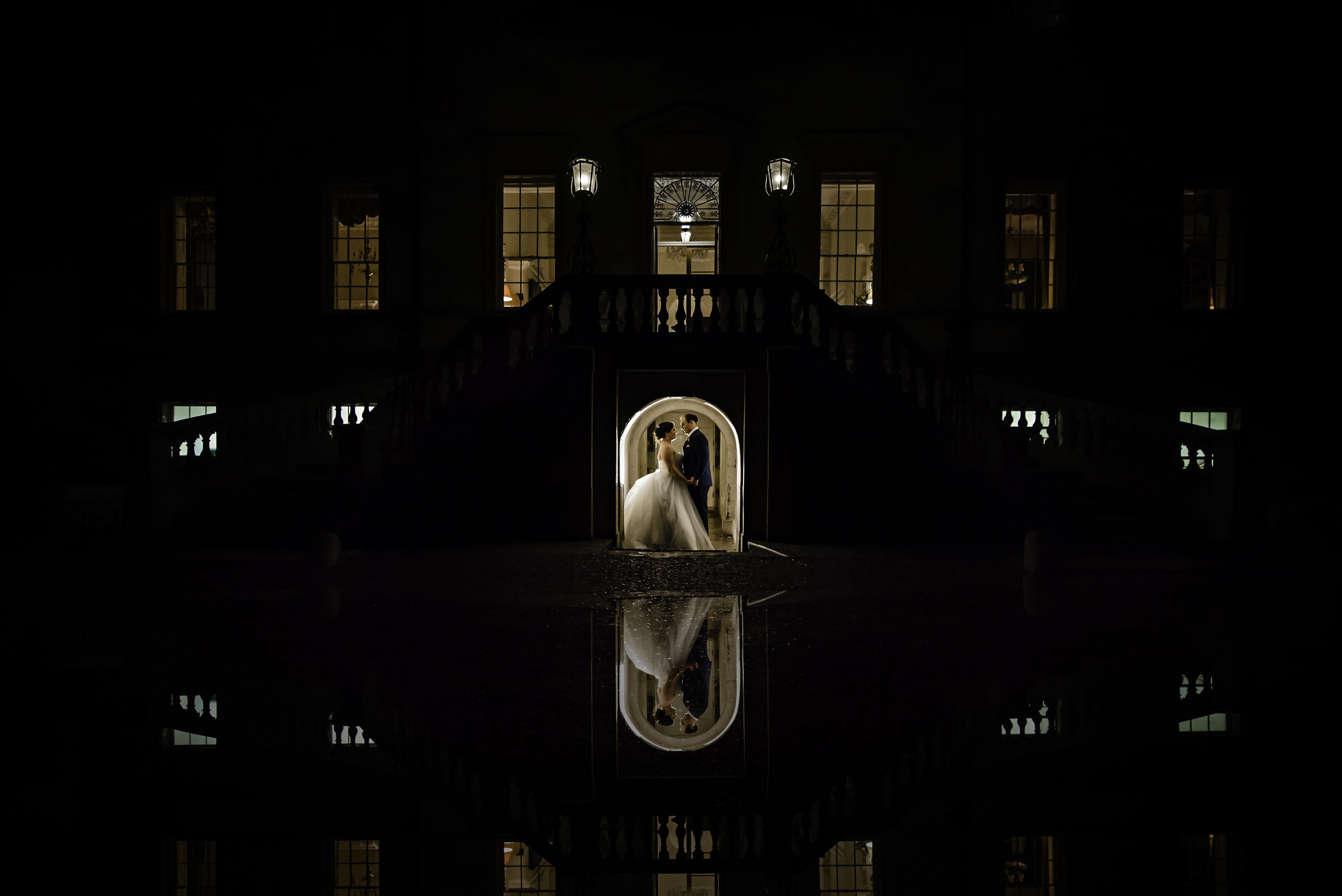 Bride and Groom Night time portrait at Botleys Mansion