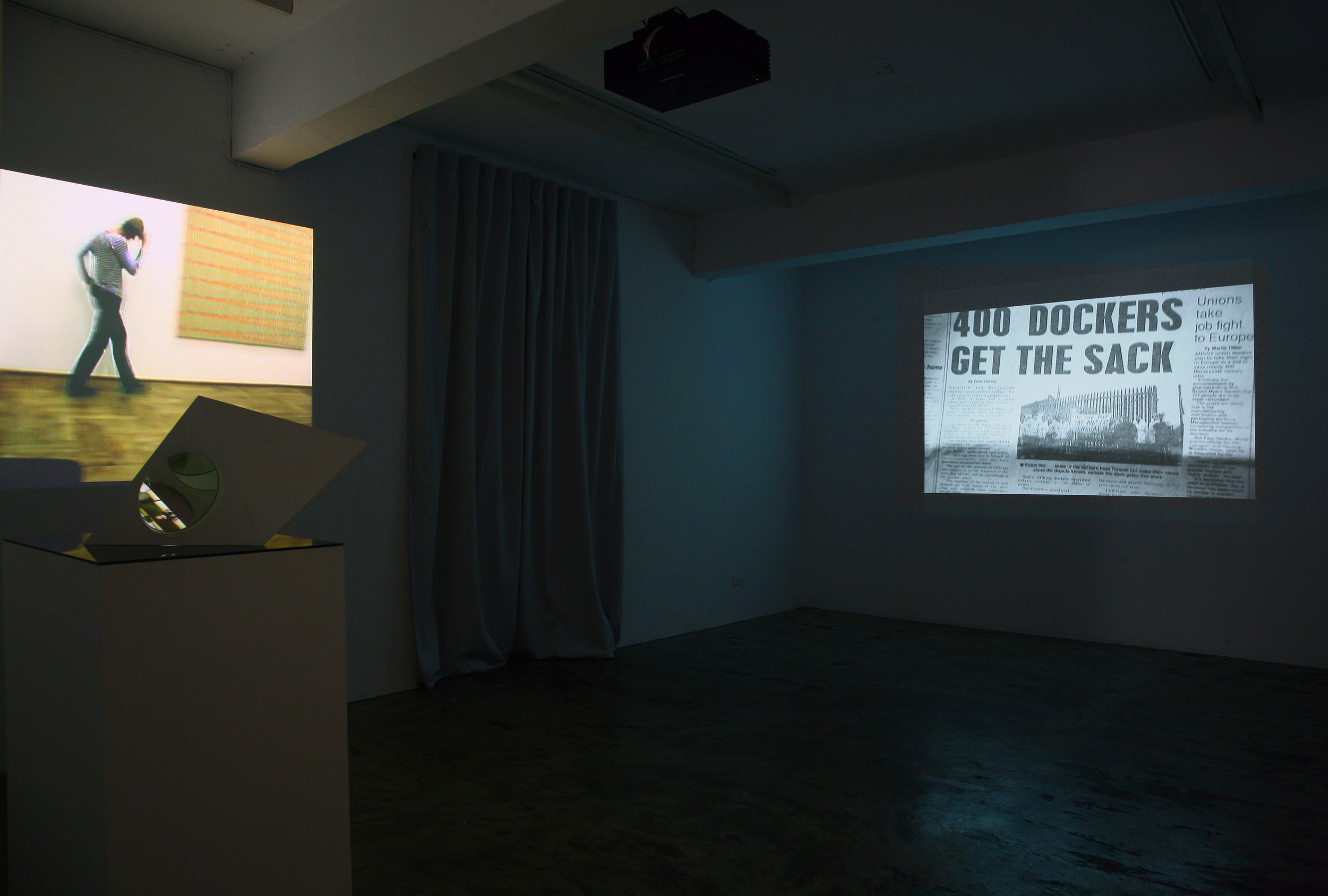 (Left) Claire Hooper's video installation 'The Blessing', 2007/ 20088 ; (Right) Chen Chieh-Jen's Video installation 'The Route', 35mm film transferred to dvd, color & b/w, silent, 20 mins, Single-channel, 2006.