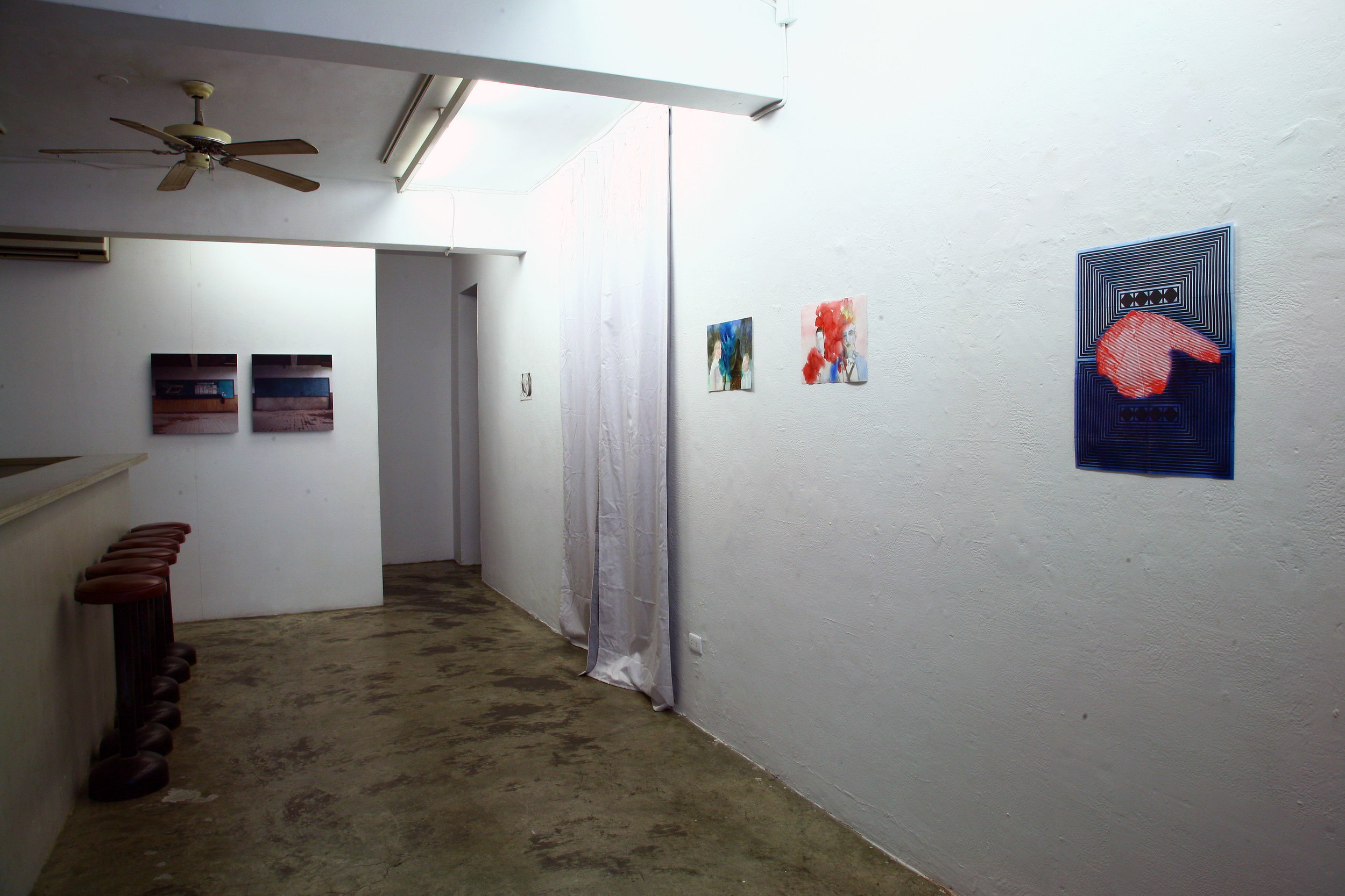 Installation shot by artist Wu Shang Lin (left), Claire Hooper (middle) and Mark Aerial Waller (Right)