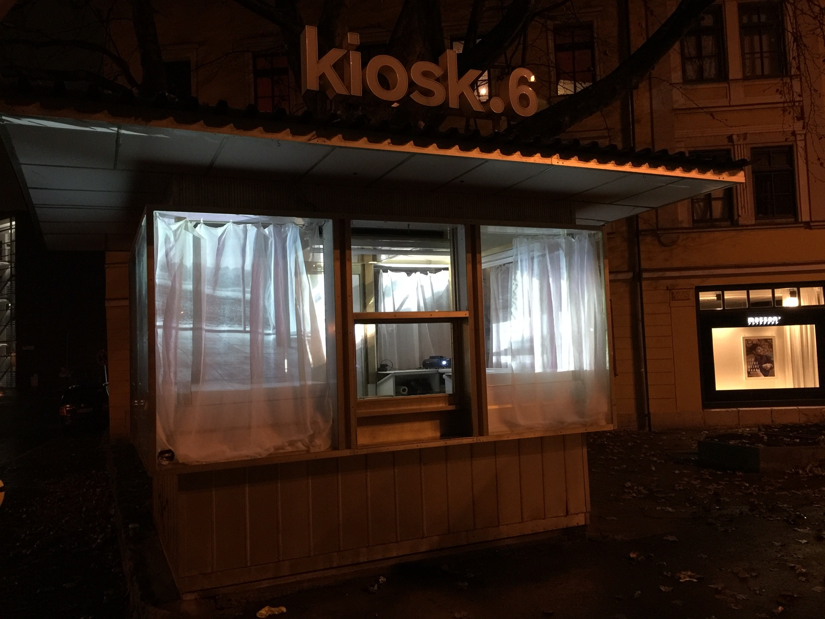 Outside look of kiosk.6 while presenting the work by Astrid Busch