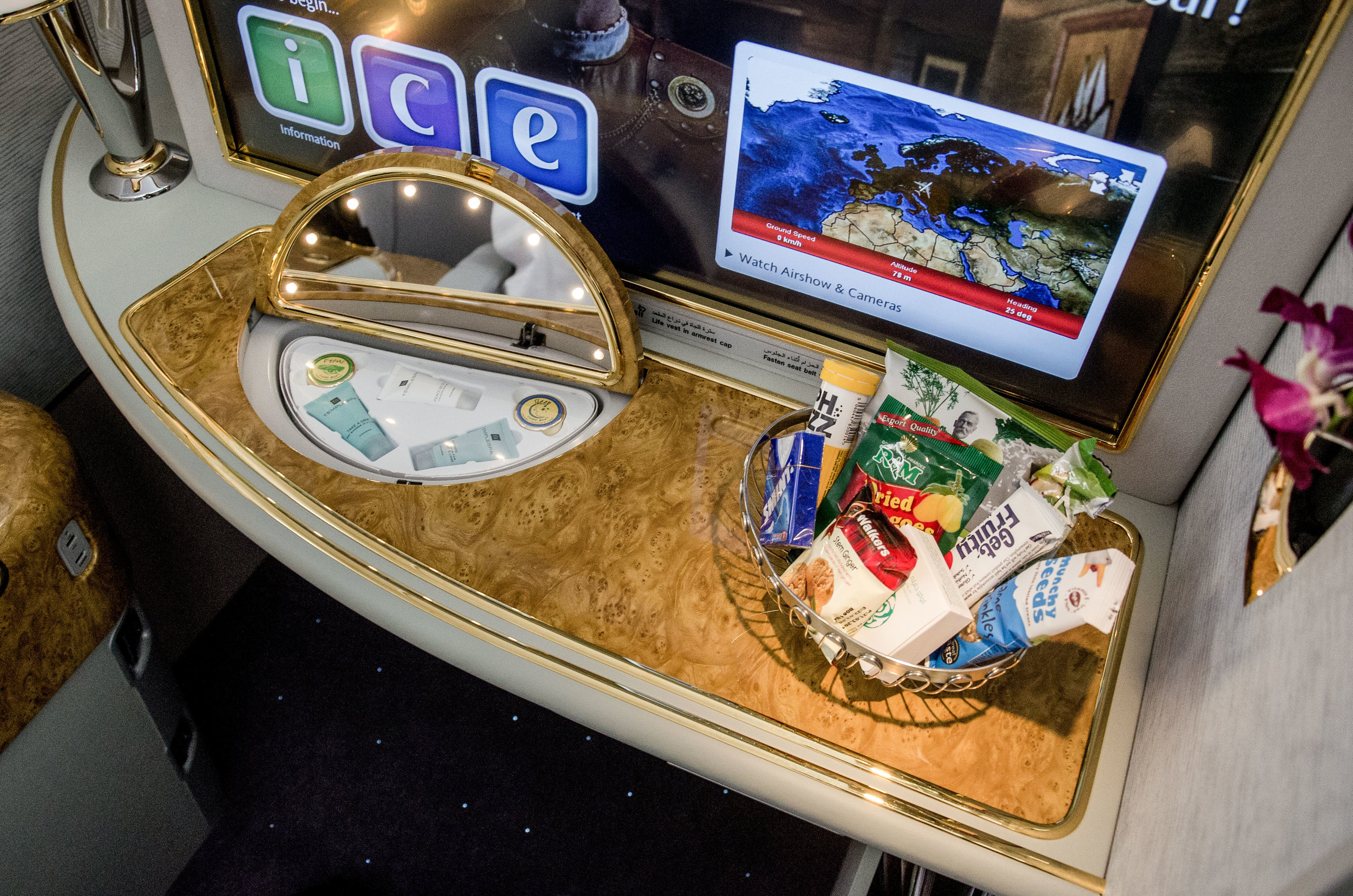 Your private bowl of snacks, available throughout the whole flight!