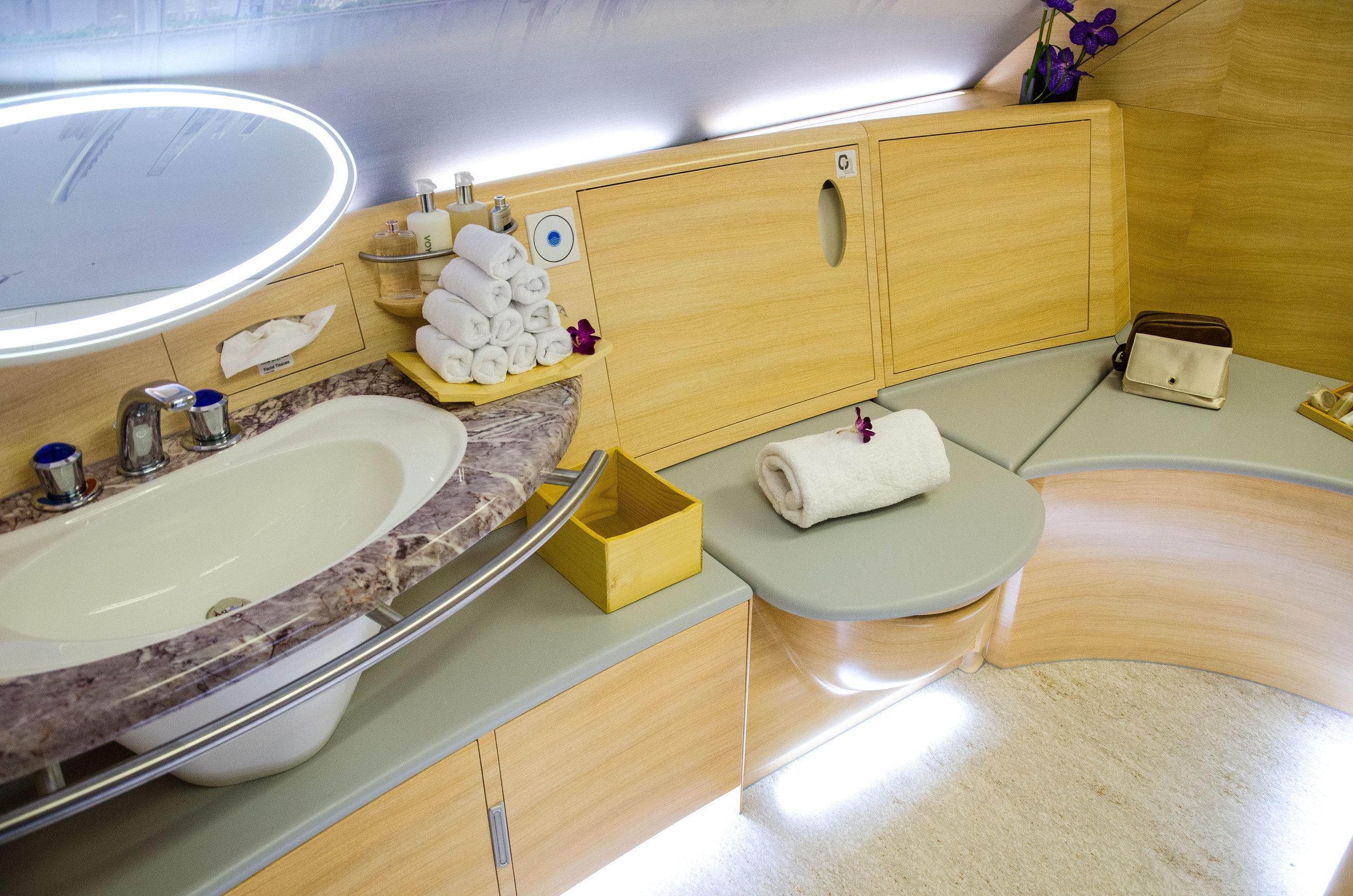 Emirates' First Class bath room