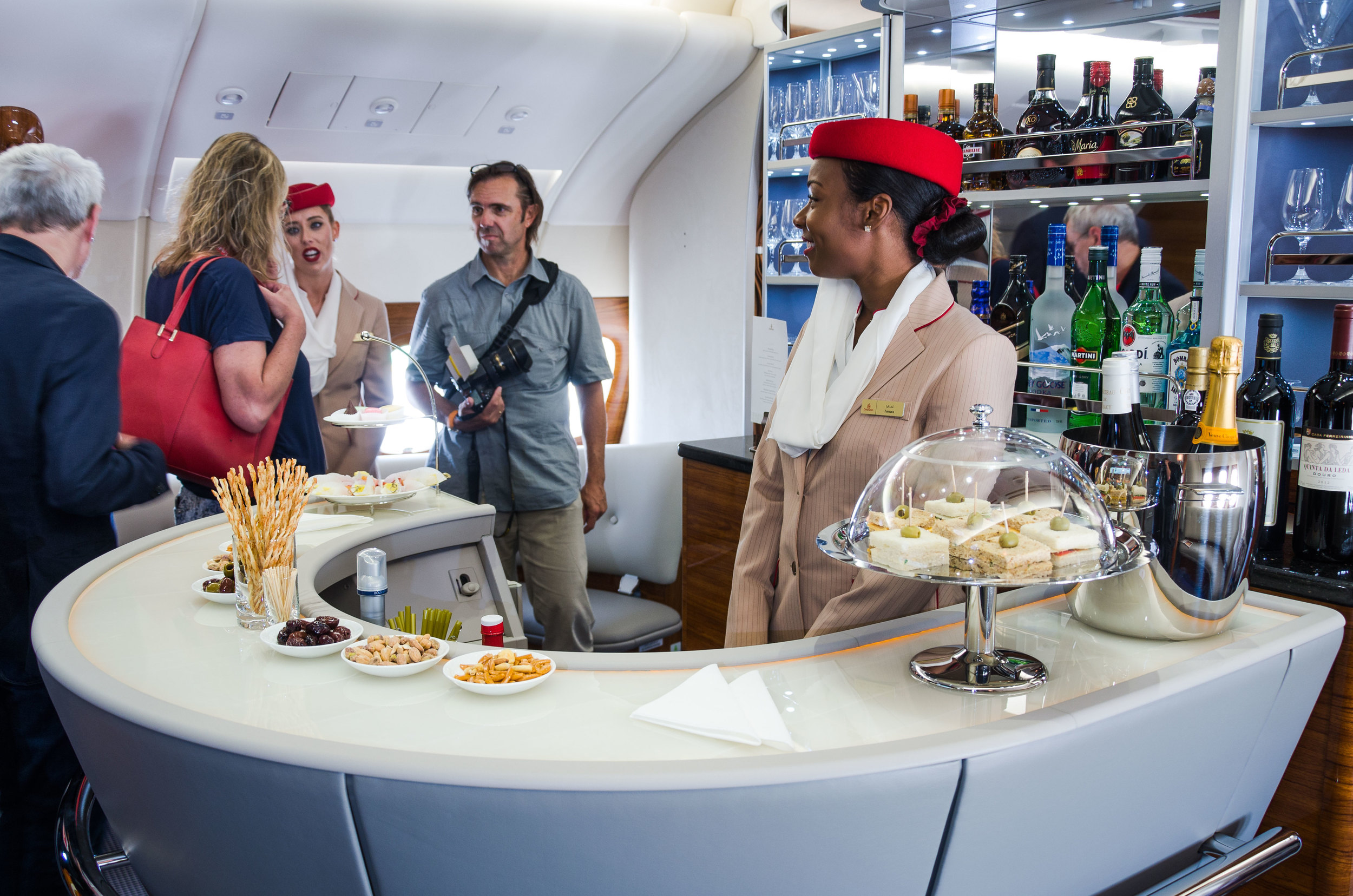 A bar located in the back of the upper deck is exclusively available to First and Business Class travellers.
