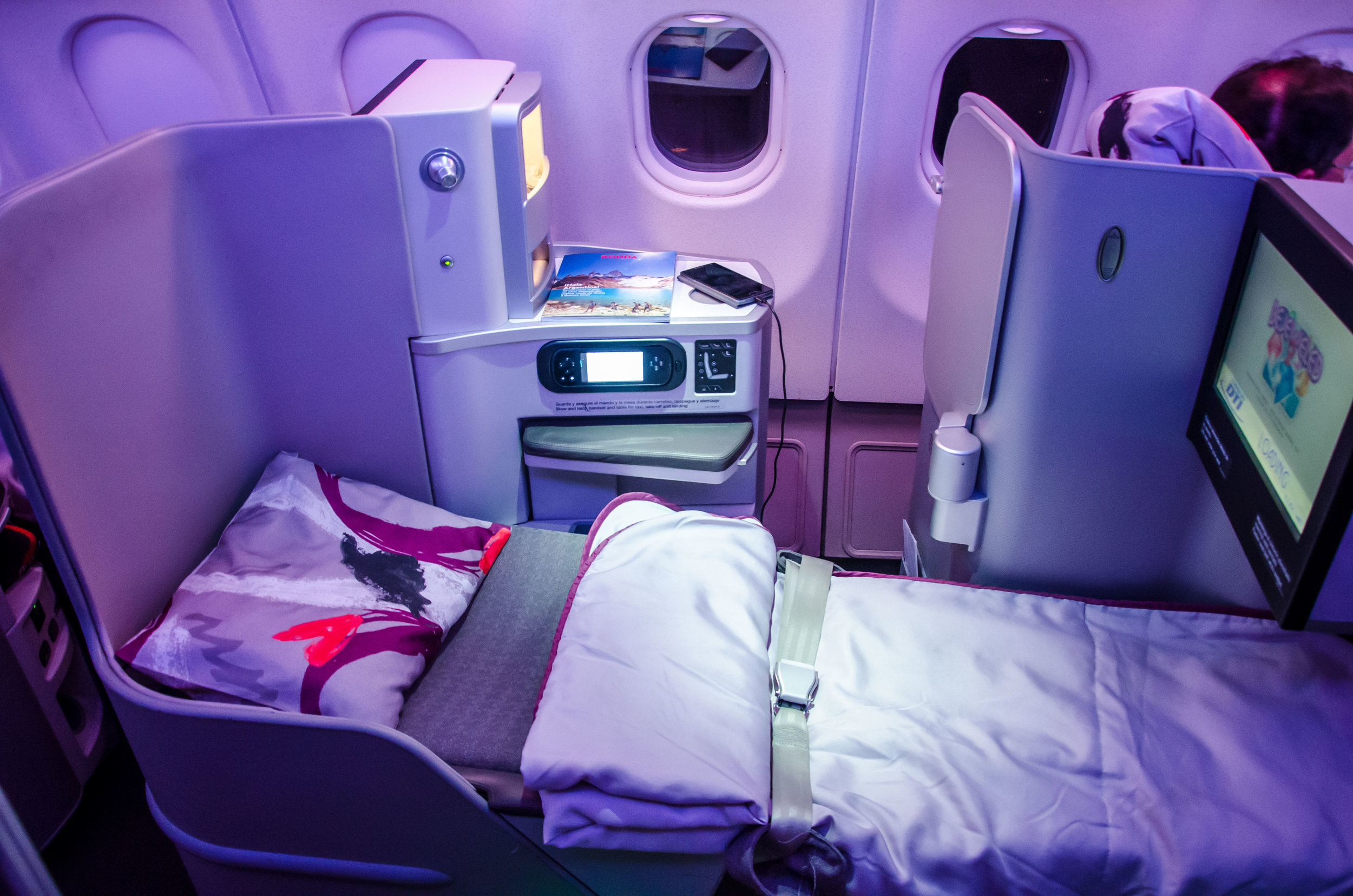 All seats can be turned into full flat beds.
