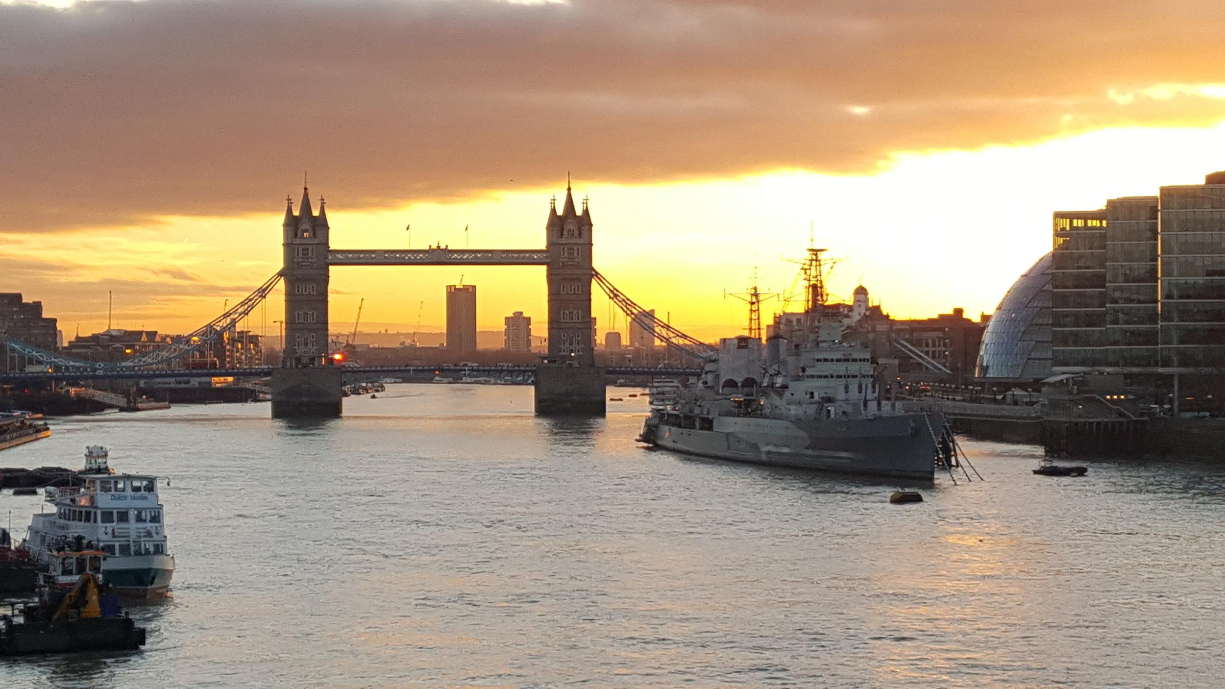 Sunrise over Tower Bridge on the walk to Sapio's office