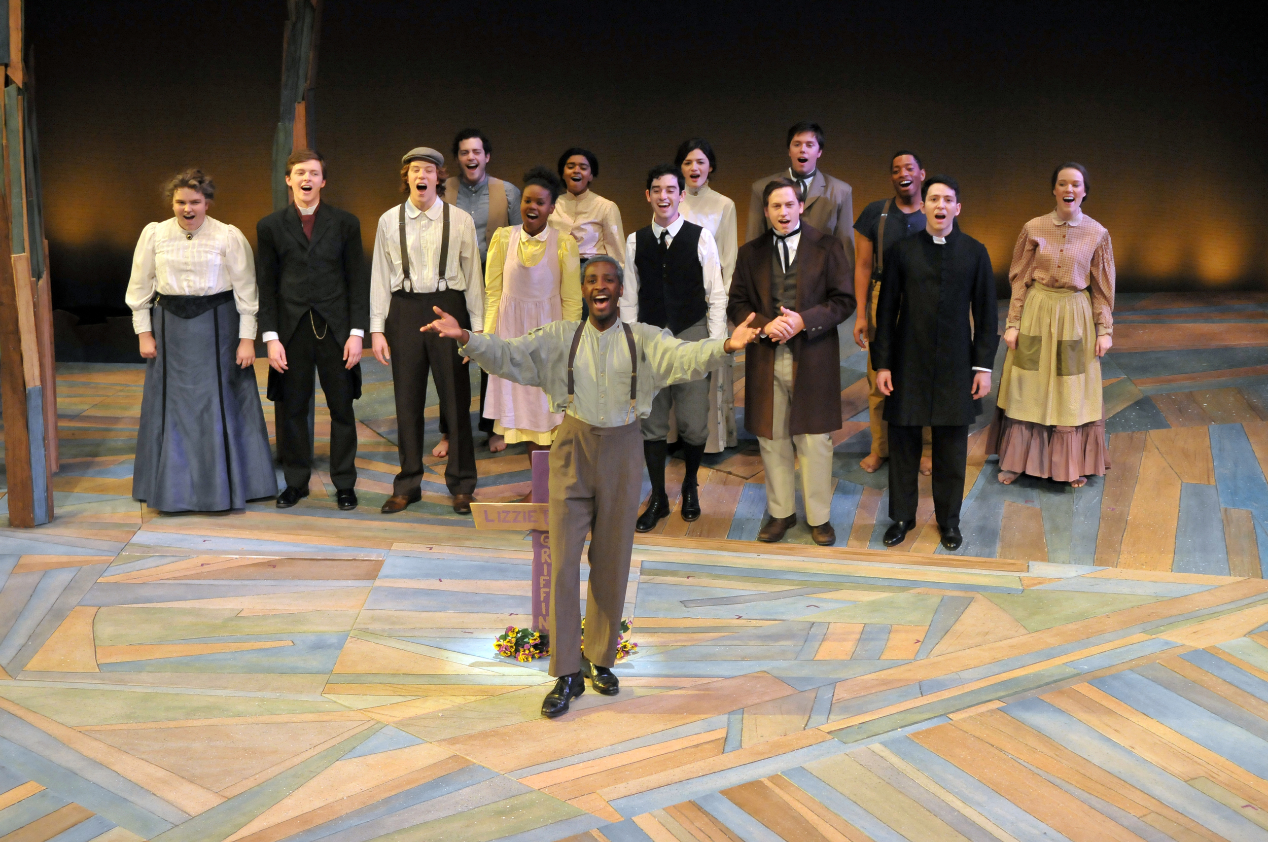 Devin and the cast of Lizzie Bright and the Buckminster Kid.