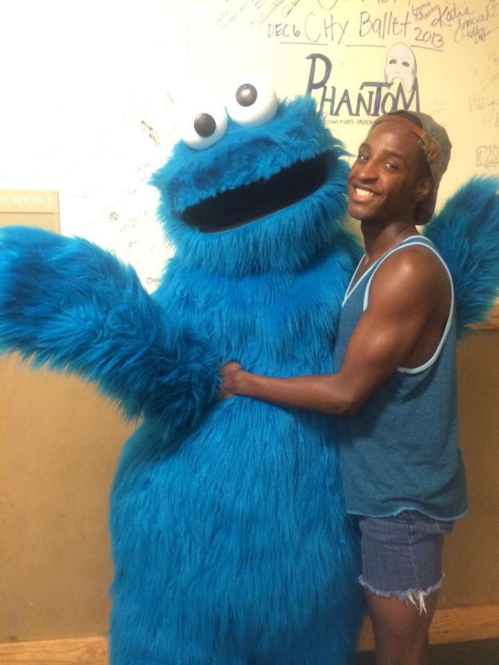 Devin backstage with Cookie Monster.