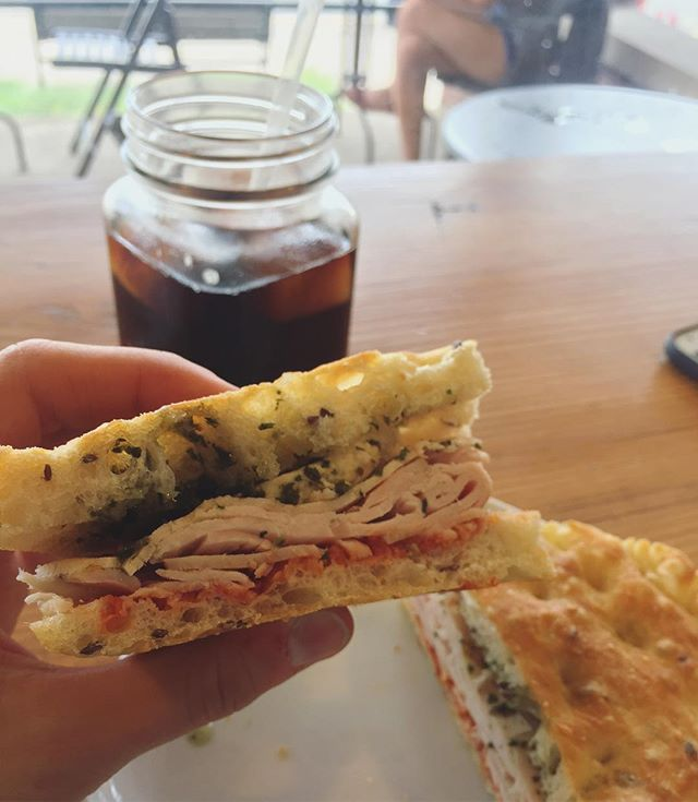 Nom 😍 Delish turkey, sundried tomato, mozzarella sandwich from @bakedinemmaus!