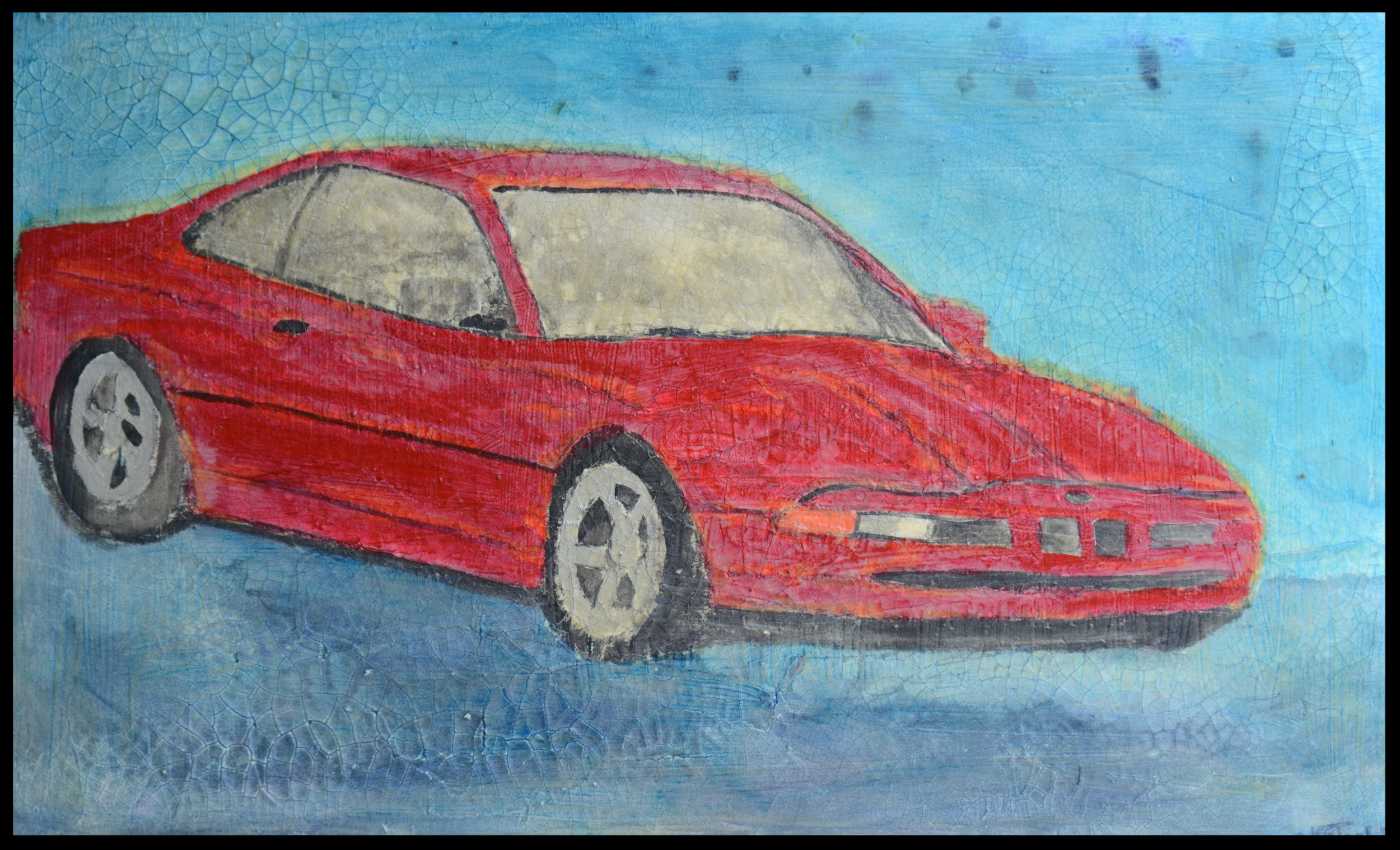 "BEEMER ME UP - 17 1/2""h x 28 3/4""w x 3 3/4""wAcrylic & Mixed Media on Canvas"