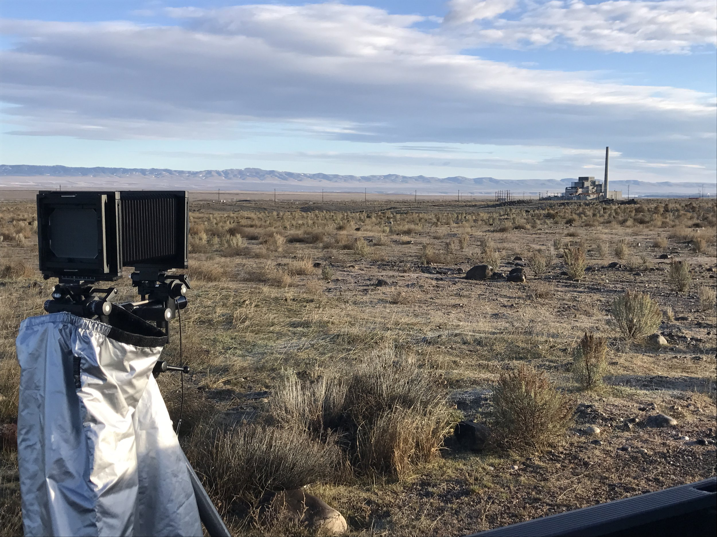Photographing B Reactor from a distance within the 100B/C Area with a large format camera.