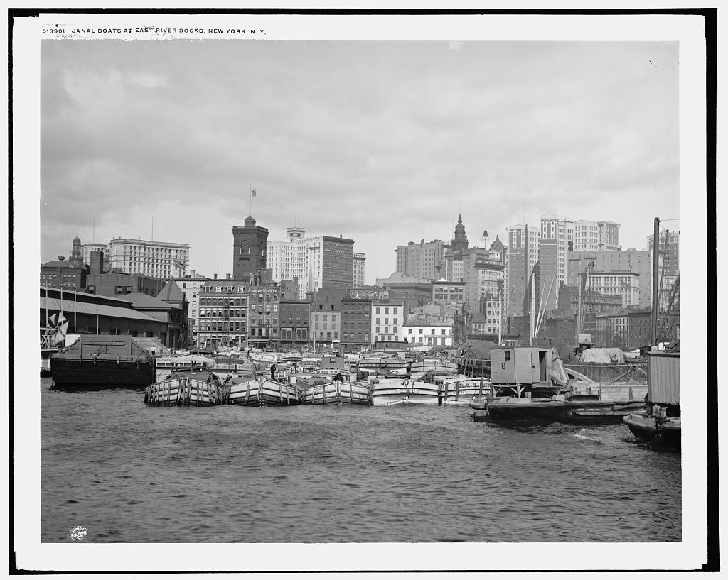 Canal boats at the East River docks.