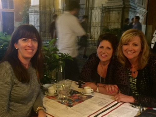 Dr. Pia de Solenni, Teresa Tomeo & Kelly Wahlquist discussing WINE & Shrine in Trastevere