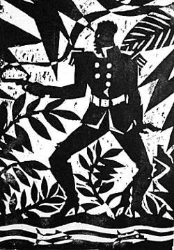 "Aaron Douglas, Emperor Jones series; woodcut print on Japanese paper (1929) ""Bravado"" (Aaron Douglas (1899-1979) is the best-known visual artist of the Harlem Renaissance.)"