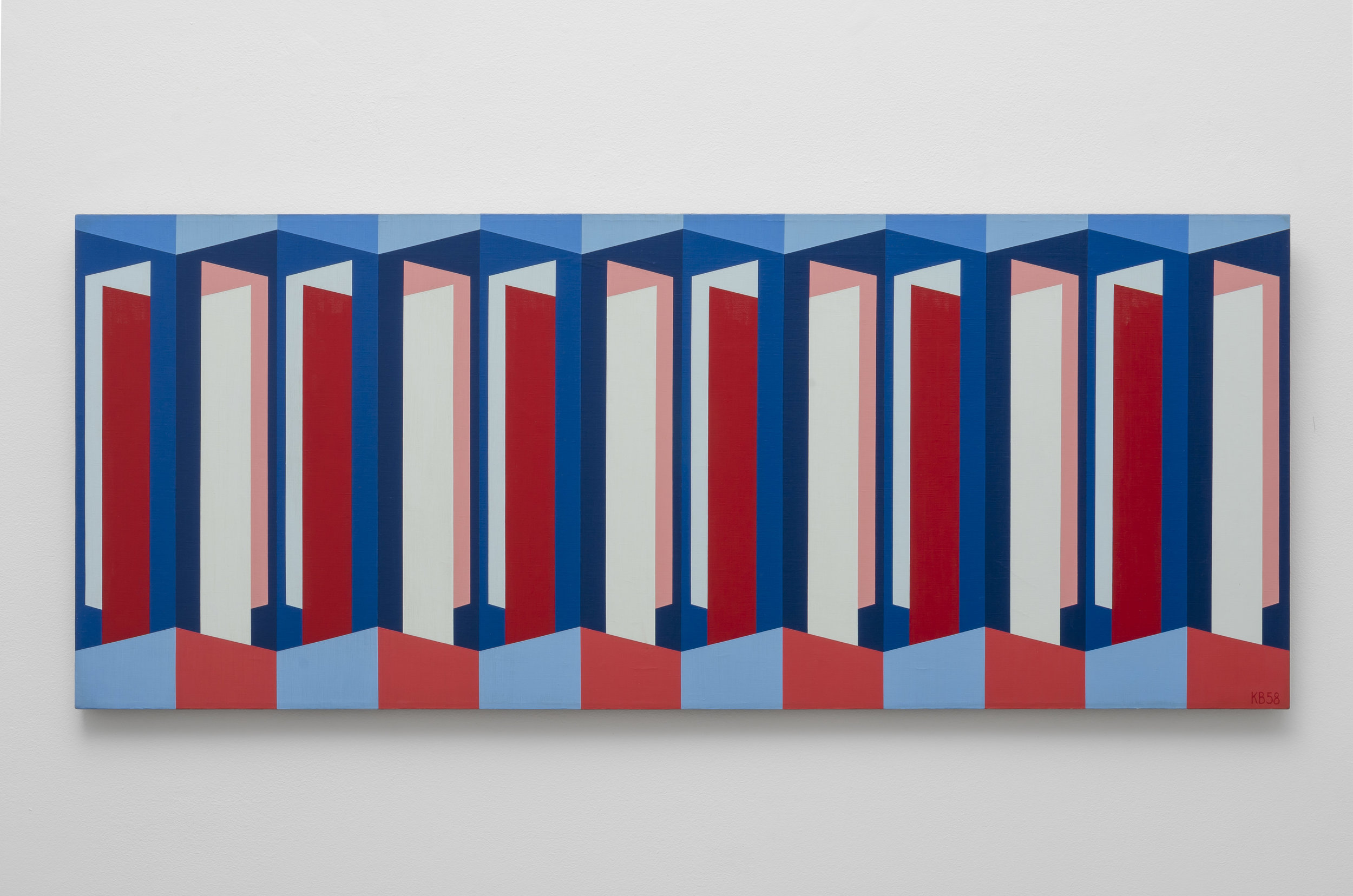 Red, White, Blue Symmetry II , 1958  oil on canvas 20 x 50 inches; 50.8 x 127 centimeters